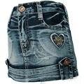 Apertado Saia Jeans de Lavagem Antigo 3-7A Azul escuro Coração bordado de Strass botão de Bronze Menina crianças mini Furtivo MH9117