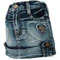 Tight Denim Skirt Antique Wash 3-7Y dark Blue Heart embroidery Rhinestone Brass button Girl children mini Slinky MH9117
