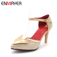 ENMAYER Size 34 47 Fashion Women Sandals Platform Pointed Toe Bow Summer Shoes Gladiator Sandals Women