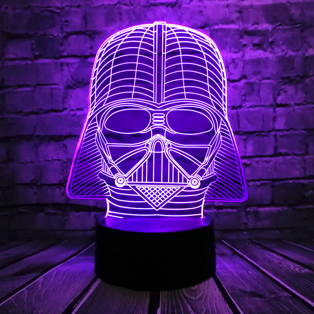 Creative Cartoon LED Star Wars Black Knight Head 7 kleuren USB Change Home Boy Room Mood Night Light Holiday Party Lava Kids Gift