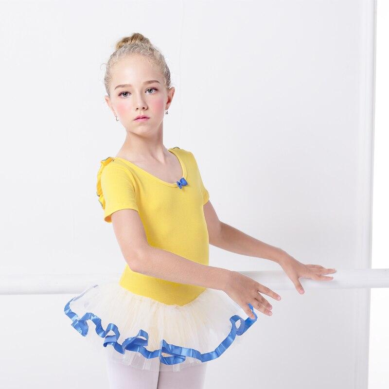 Yellow/Pink Ballet Leotard For Kids Bow Ballet Tutu Dance Dress Leotard For Girls Profession Gymnastics Cloth Use For Bailarina
