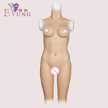 EYUNG 2019 High quality five-point silicone bodysuit with fake breast form and fake vagina for ceossdresser shemale to male drag(China)
