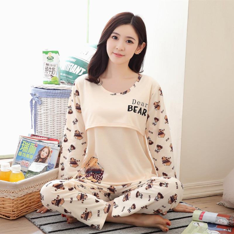 Breastfeeding Sleepwear Overall Bear Pregnant Women Set pajama suit Nursing Nightgown Maternity Cotton Colthing Adjustable