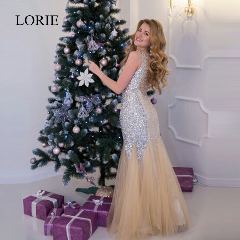 Sexy Women Evening Party Dress Long Abendkleider Rhinestones Bling Bling Mermaid Prom Dresses 2018 Formal Champagne Evening Gown