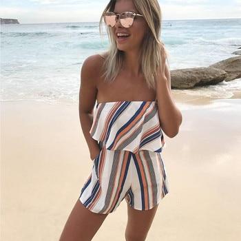 Summer 2018 Women Strapless Playsuit Str...