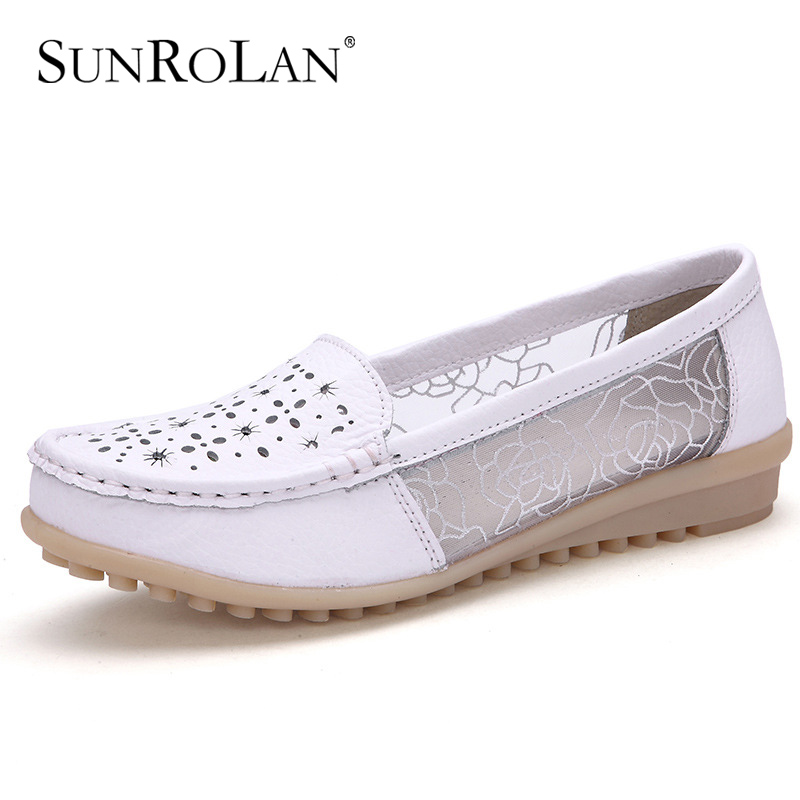 SUNROLAN 2017 New Fashion Spring Women Shoes Split Leather Cut out Flat Lace Nurse Shoes Woman Slip-on Loafers Shoes ZY5689 hot sale 2016 new fashion spring women flats black shoes ladies pointed toe slip on flat women s shoes size 33 43