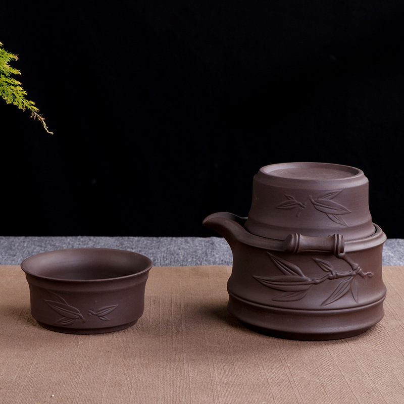 Vintage Ceramic Purple Clay Teaware Set 2