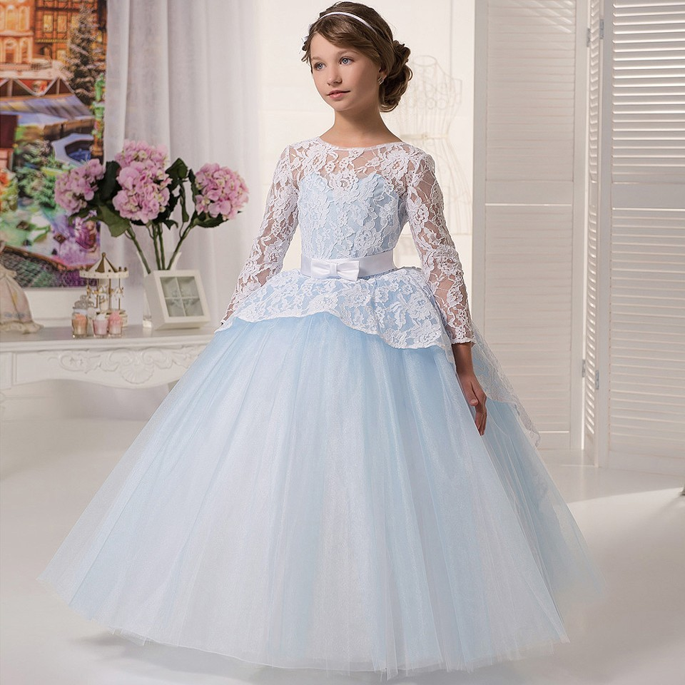 Custom Made Sky Blue Tulle Flower Girls Dresses Lace Up Open Back Long Sleeve First Communion Dresses Girls Ball Gowns eyelet lace up open back texture knit sweater