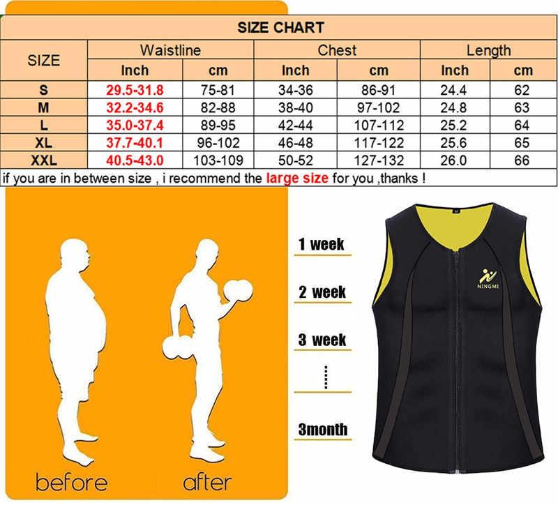 NINGMI Mens Afslanken Vest HOT Shirt Fitness Gewichtsverlies Zweet Sauna Pak Taille Trainer Body Shaper Neopreen Tank Top met rits