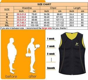 Image 5 - NINGMI erkek zayıflama yelek sıcak gömlek spor kilo kaybı ter Sauna takım elbise bel eğitmen vücut şekillendirici neopren Tank Top ile fermuar