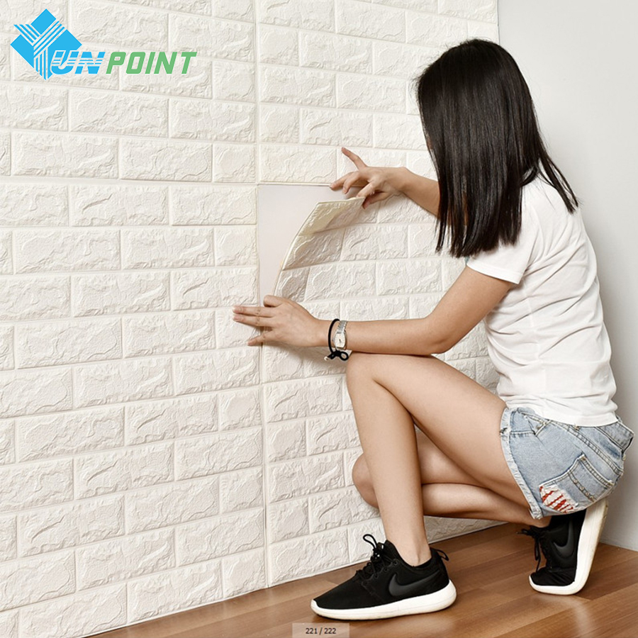 PE Foam 3D Wall Stickers Safty Home Decor White Wall Paper Roll DIY Wall Decor Brick Living Room Kids Bedroom Decorative Sticker