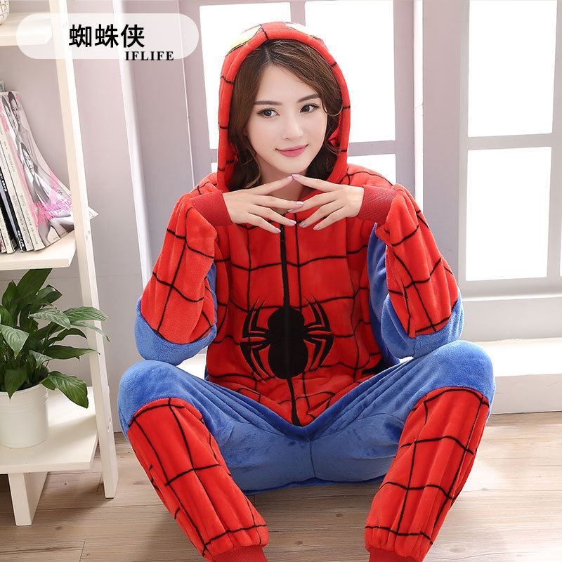 Adults Animal Kigurumi Spiderman   Pajamas     Sets   Sleepwear Cosplay Zipper Onesie Hooded Women Men Winter Unisex Cartoon   Pajamas