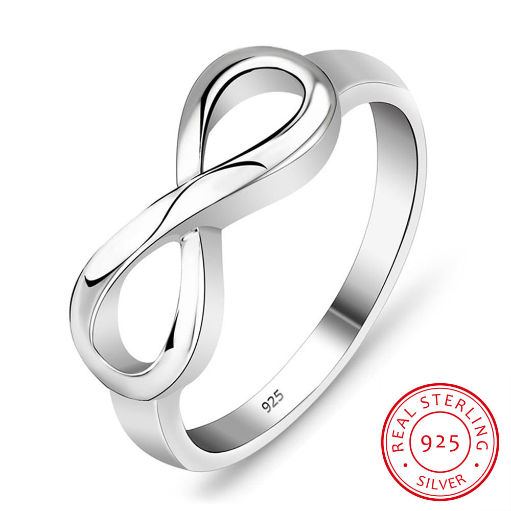 925 스털링 실버 인피니티 링 Eternity Ring Charms Best Friend Gift Endless Love Symbol 여성용 패션 반지 (RI101995)