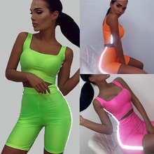 Navel sexy vest high waist tight shorts reflective Streetwear Women 2 piece set plus size Sleeveless tank top and shorts a116 недорго, оригинальная цена