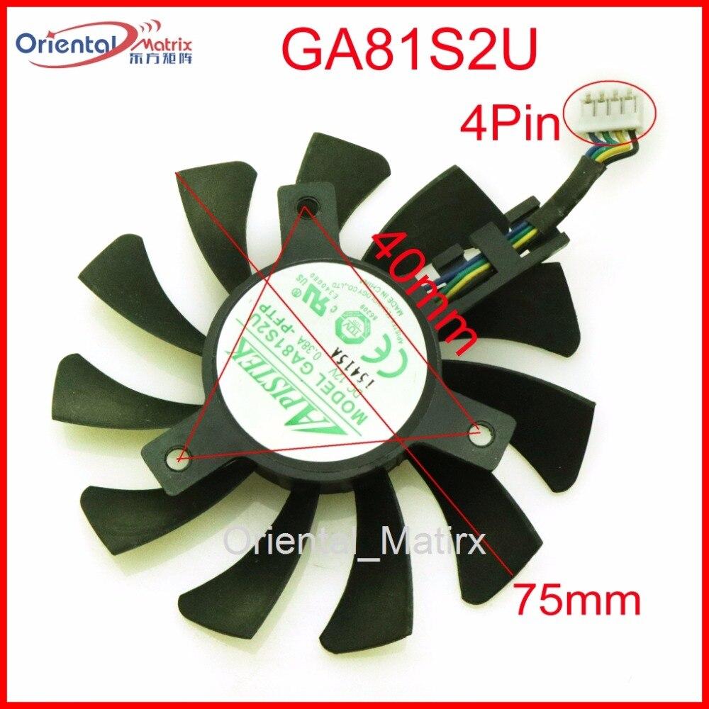 Envío libre GA81S2U 12 V 0.38A 75mm 40*40*40mm 4Pin ventilador para ZOTAC GeForce GTX 970 4 GB ventilador de la tarjeta gráfica