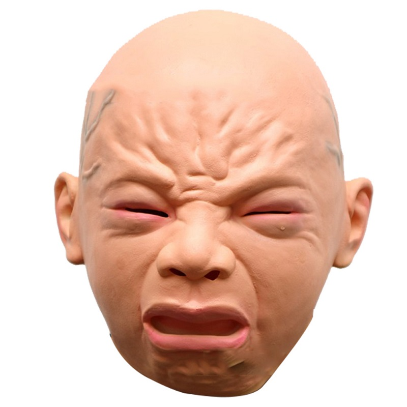 halloween cry mask latex kid expression joke full face masquerade
