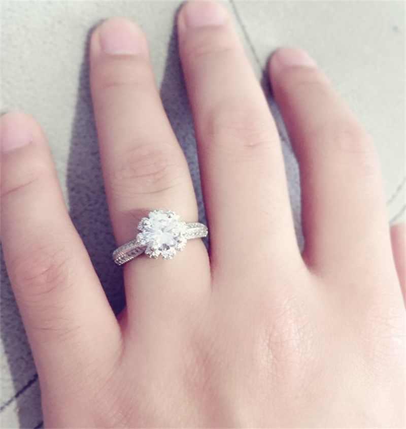Luxury 100% แท้แหวนเงินฝังคริสตัลแหวนชุด 5.5 มม. 1.2ct CZ SONA แหวนหมั้นเพชรแหวนสำหรับสตรี