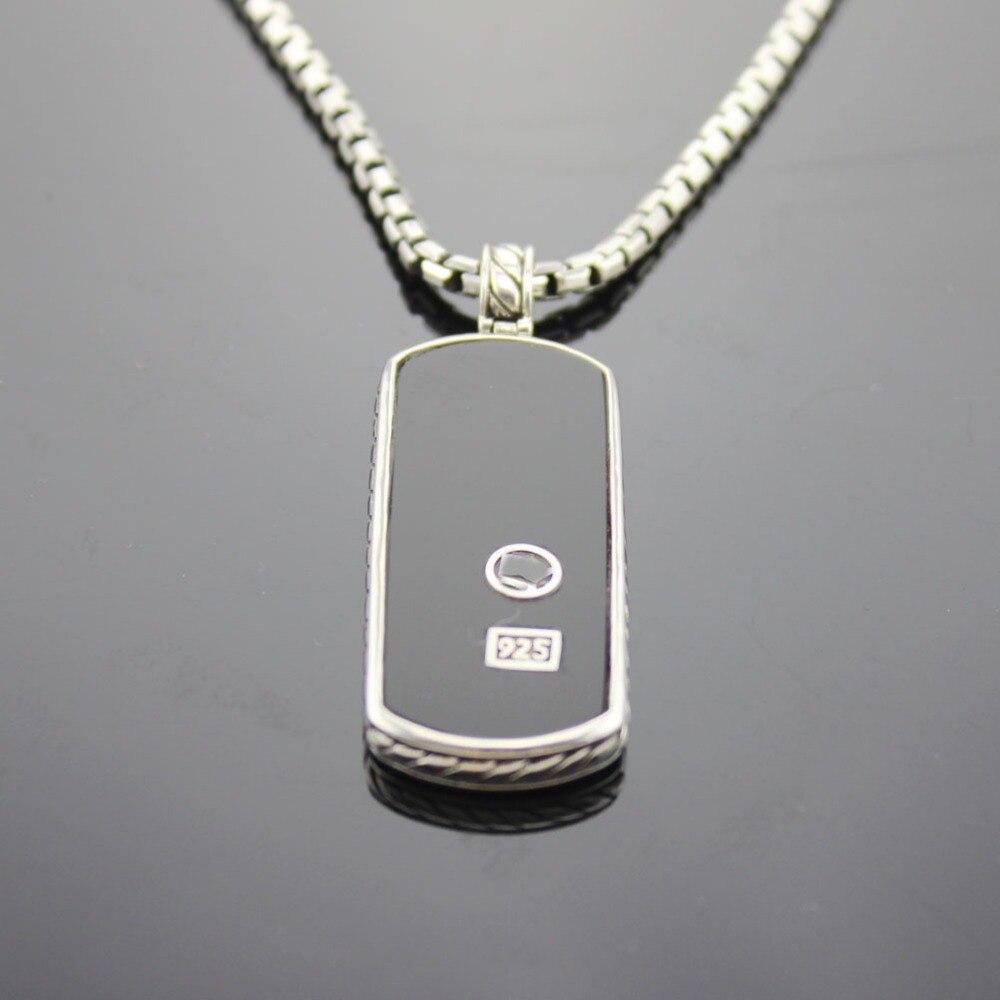 Bijoux en argent Sterling 925 solide collier pour hommes Onyx noir chien Tag bijoux Design collier pendentif pour hommes cadeaux de la fête des pères