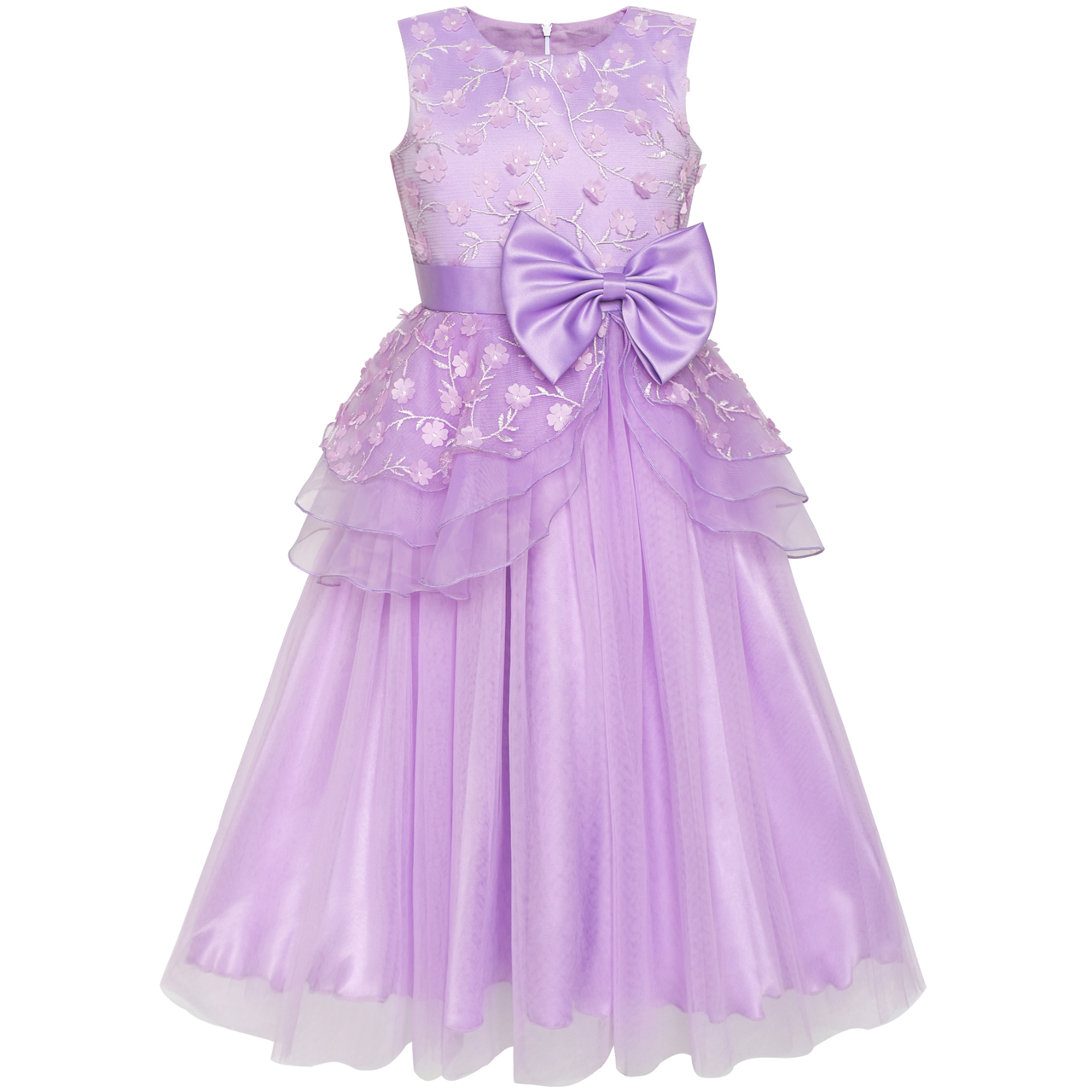 Sunny Fashion Flower Girls Dress Ball Gown Wedding Bridesmaid Bow Tie 2018 Summer Princess Party Dresses Girl Clothes Size 6-12 sunny fashion flower girls dress peach ruffle butterfly wedding bridesmaid 2018 summer princess party dresses clothes size 6 14