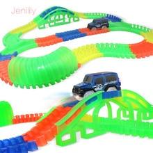 1 Set DIY Perakitan Puzzle Track Mobil Mainan Glowing Balap Track Mobil Rel Elektronik Dengan Cahaya & Musik Mainan Pendidikan Untuk Anak-anak