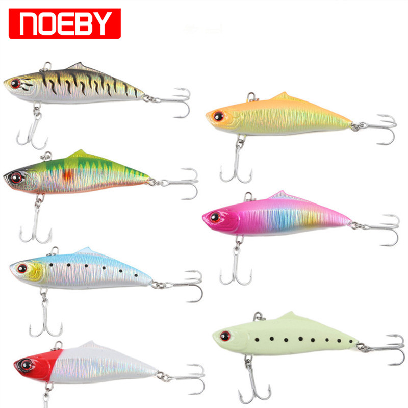 NOEBY 75mm/19g Mini VIB Hard Fishing Lure Sinking 0.6-2.0m Artificial Bait Hard Fishing Bait With VMC Hooks Para Pesca trulinoya high quality metal vib lures fishing vib lure 75mm 23g sinking artificial vibrator bass bait free shipping