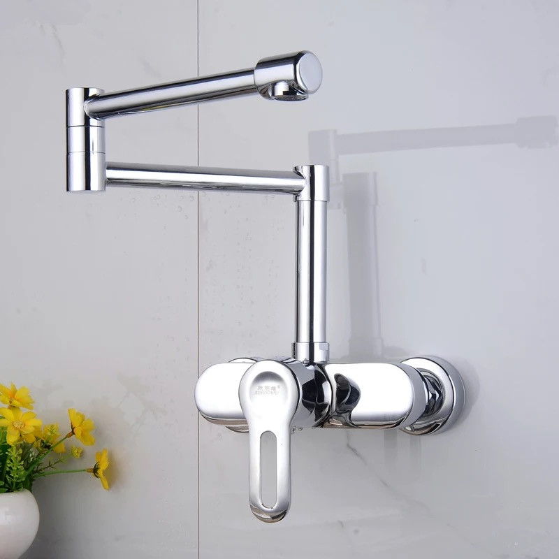 Hot And Cold Kitchen mixer Faucet Rotated Wall Kitchen Faucet Copper Wall Mounted Faucet Sink Mixer Kitchen Mixer Water Tap free shipping stainless steel folding lead free kitchen mixer tap sink faucet wall mounted hole hot and cold water kf785