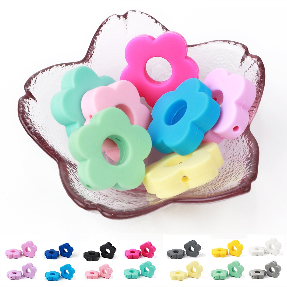 TYRY.HU 5pcs Silicone Beads Small Flower Shape DIY Baby Nursing Teething Beads Food-grade Accessorie Candy Color Perle Silicone