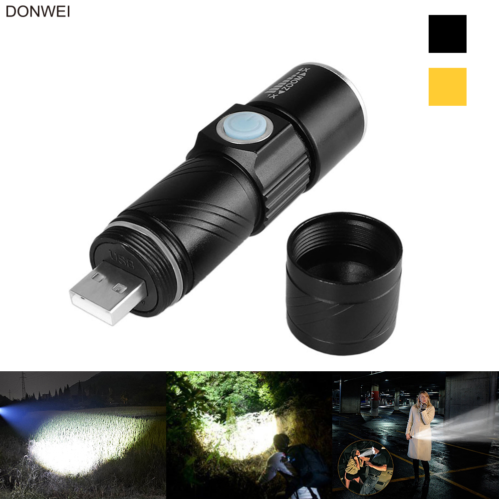 DONWEI Mini USB Charger Q5 LED Flashlight Torch 3 Modes Adjustable Zoomable Travel Camping Cycling Flashlight With Strap