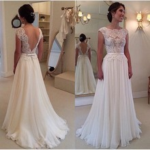 2019 Backless Vestido De Noiva Wedding Dresses A-line Cap Sleeves Chiffon Lace Beach Boho Dubai Arabic Gown Bridal