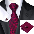 C-554 New Style Men's 100% Silk Neckties Tie Hanky Cufflinks Sets Good-looking Formal Tie for Business Wedding Party