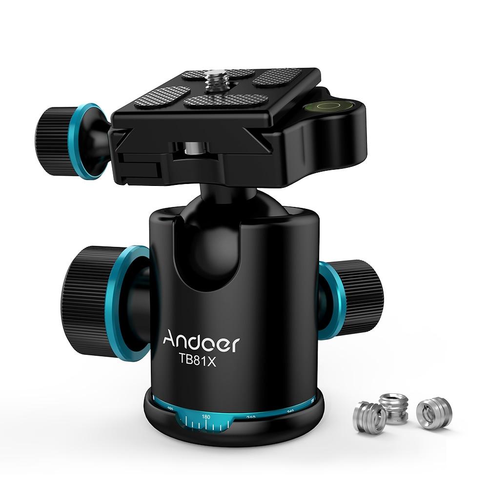 Andoer TB81X Tripod Head Ball Head Rotating Panoramic BallHead with 3pcs 1/4″ to 3/8″ Srew Adapters  for Monopod DSLR Camera