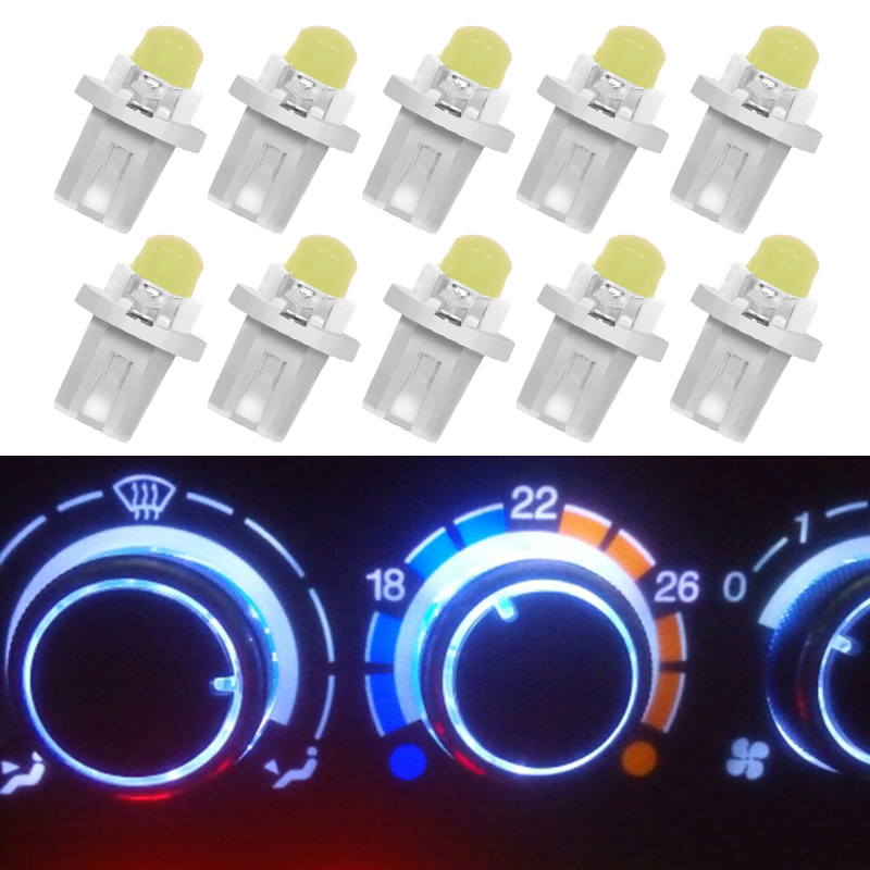 10Pcs/lot Multi Color T5 B8.5D B8.5 SMD LED Car Light Automobiles Light-emitting Diode Instrument Dashboard Light Bulbs DC 12 V