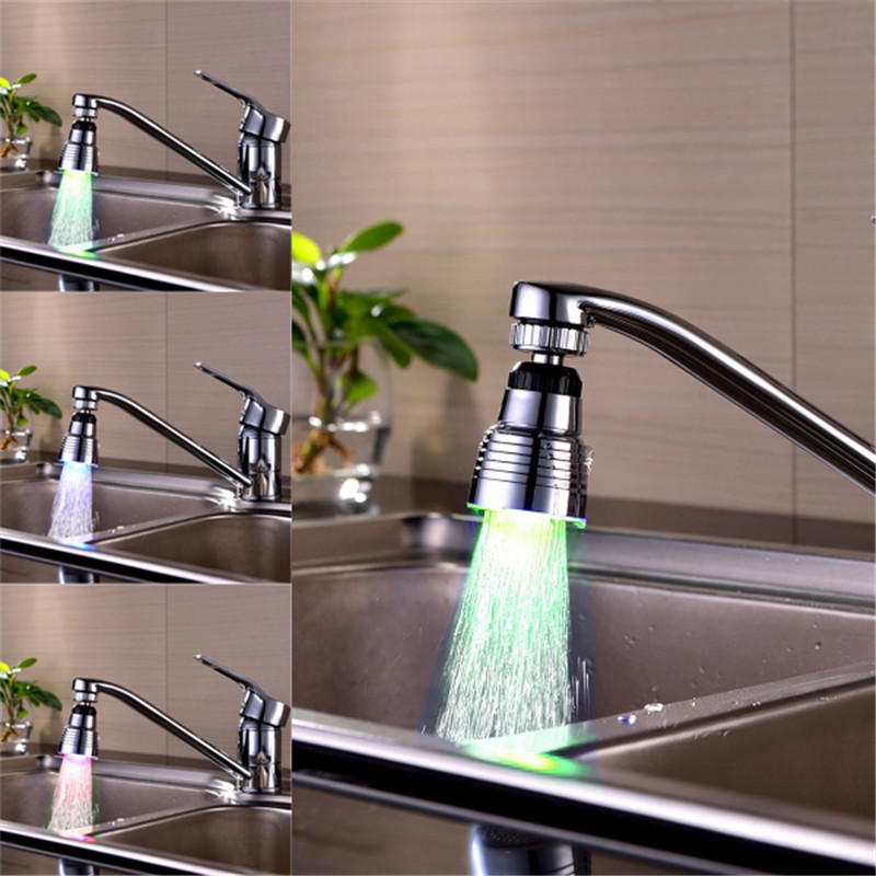 1 pc lighting 360 degree rotation New Bathroom Shower Mixer Faucet Aerator LED Light spo ...