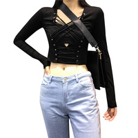 Lychee Sexy Punk Women Crop Top Cross Lace Up Bandage Hollow Out Slim Long Sleeve T