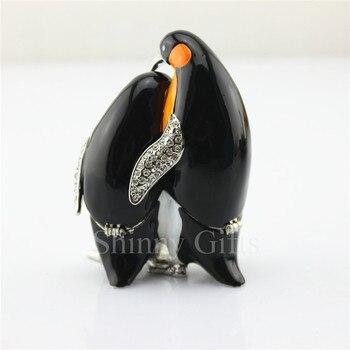 Pewter Penguin Mom & Son Jewelry Trinket Small Box Pewter Trinket Box