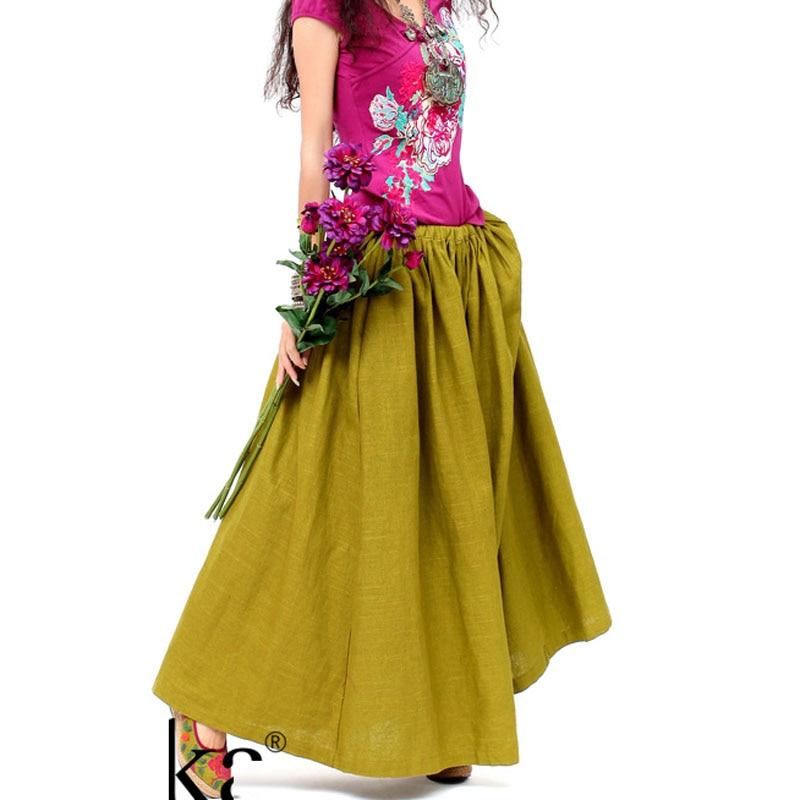 Vintage Lino Tallas Falda Amarillo Faldas Estilo Pastoral Otoño Maxi Casual Diseños Mujeres Retro Algodón Vacaciones 2018 6xl Oro Grandes 8CdqXq