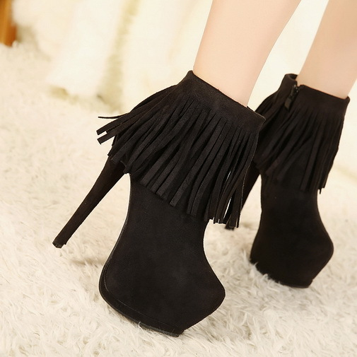 Aliexpress.com : Buy Womens Ankle Boots High Heels Platform Fringe ...