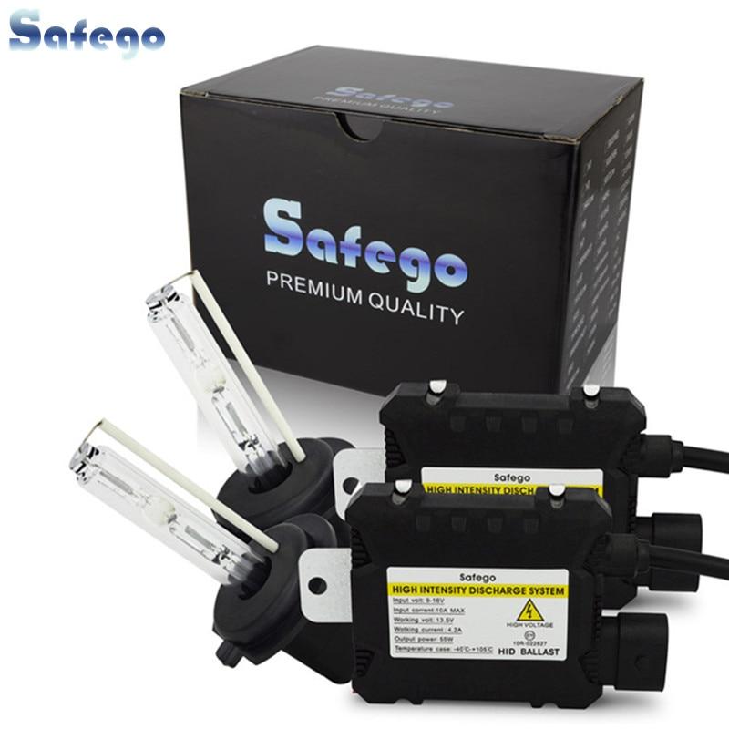 55 w escondeu kit de Luz xenon Safego H7 H4 H1 H3 H8 H9 H10 H11 H13 9005 9006 hid conversion kit 4300 k 6000 k 8000 k