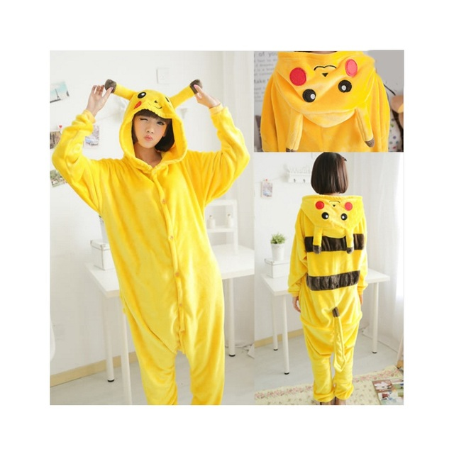 06e7791b25 2018 Winter Pyjamas Pikachu Cosplay Animal Hoodie Sleepwear Pajamas Adult  Yellow Unisex Onesie Cosplay Costume Pajamas overall