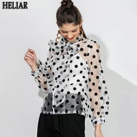 HELIAR Black Polk Dot Blouse Women Transparent Sexy Long Sleeves Autumn Spring Streetwear White Organza Blouses