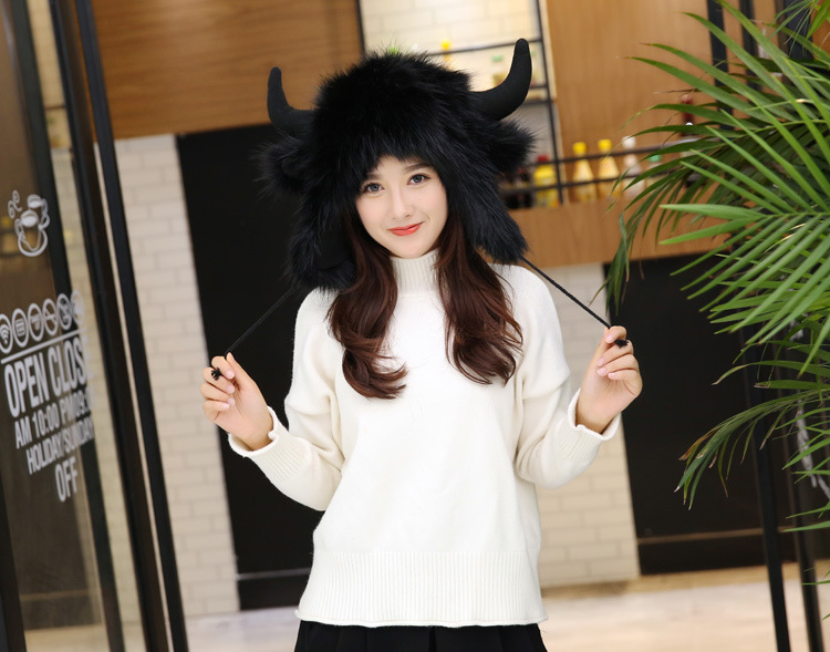 2017 Winter Faux Fox Fur Caps for Women Warm Bomber Hats with Ears Girls Novelty Cartoon Animals Party Caps Female Hats Gift 10