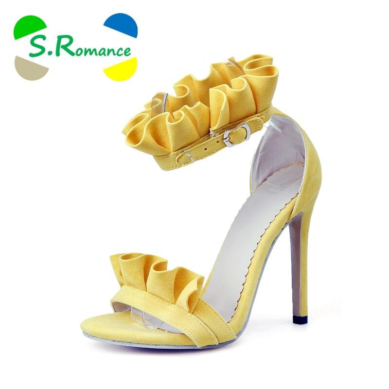 S. โรแมนติกผู้หญิง Plus ขนาด 34 43 แฟชั่นสายคล้องคอรองเท้าส้นสูง Lady ปั๊มรองเท้าผู้หญิงสีดำสีเหลืองสีชมพูสีส้ม SS1000-ใน รองเท้าส้นสูง จาก รองเท้า บน   1