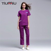 2018 High Quality Women Nurse Doctor Medical Scrub Clothes Summer Short Sleeve Open Shoulder Round Neck Hospital Uniforms XS 2XL