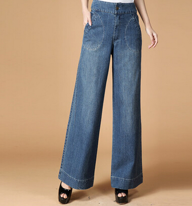 100% cotton jeans wide leg pants for women autumn spring mid waist capris denim casual pants new arrival female trousers ylq0503