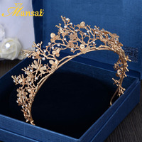 New Vintage Baroque Queen Tiaras And Crowns Gold Leaf Hairband Dragonfly Bridal Hair Accessories Girls Ornaments