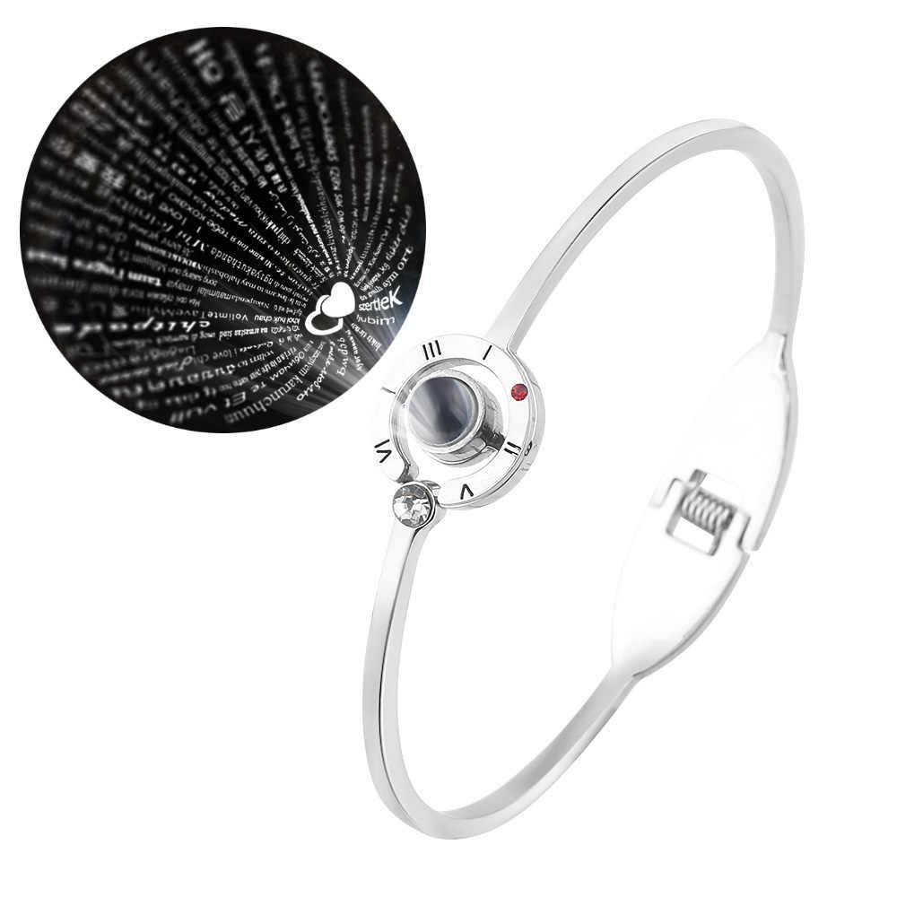 100 idiomas te amo brazaletes pulseras Acero inoxidable regalo de San Valentín su rey su Reina colgante joyería