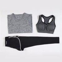 ROSAKINI 3 Pieces Women Fitness Yoga Set T Shirt & Bra & Cropped Trousers Sport Set Gym Clothes Sport wear Training Suit