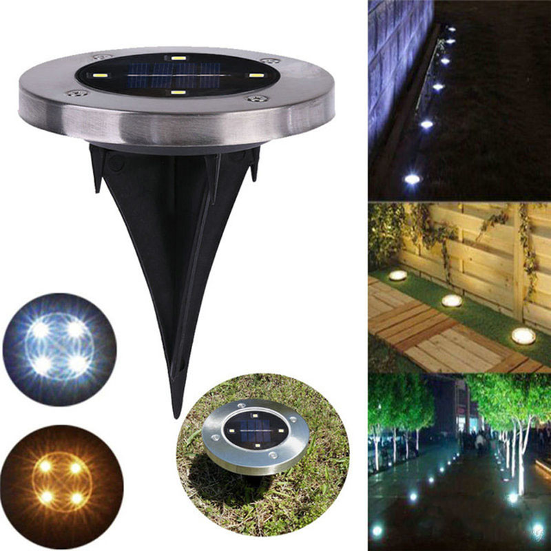 2PCS/Lot Solar Powered Ground Light Waterproof Garden Pathway Lights With 2/3/4LEDs Solar Lamp for Home Yard Driveway Lawn Road