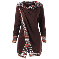 LANGSTAR 2018 New Spring Autumn Printed Trim Overlap Tunic Long Hoodie Women Casual Long Sleeves Hoodies