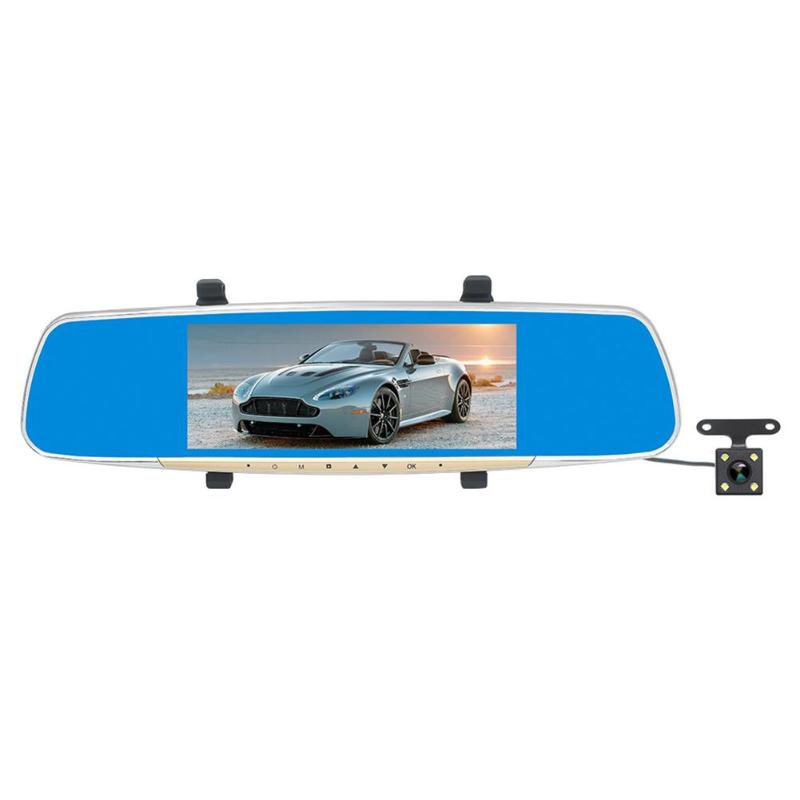 ALLOYSEED 7 LCD Screen Dual Lens 1080P HD Car Rear View Mirror DVR Camera G-sensor Dash Cam Video Recorder Parking Monitoring автомобильный видеорегистратор excedd hd 2 7 hd 1080p dvr g